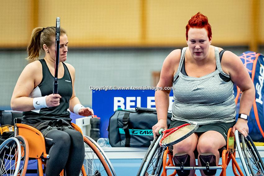 Alphen aan den Rijn, Netherlands, December 18, 2019, TV Nieuwe Sloot,  NK Tennis, Wheelchair doubles:  Ilse van de Burgwal (NED) and Kelly van der Ven (NED) (L)<br /> Photo: www.tennisimages.com/Henk Koster