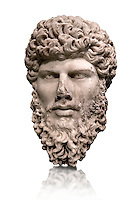 Portrait head sculpture of the Roman emperor Lucius Verus ( AD 161-169). Pentalic marble found in Athens.