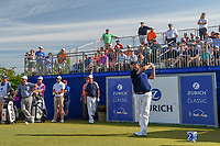 Shane Lowry (IRL) watches his tee shot on 1 during Round 3 of the Zurich Classic of New Orl, TPC Louisiana, Avondale, Louisiana, USA. 4/28/2018.<br /> Picture: Golffile | Ken Murray<br /> <br /> <br /> All photo usage must carry mandatory copyright credit (&copy; Golffile | Ken Murray)