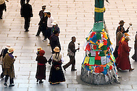 Jokhang Square in Lhasa, Tibet. Jokhang Temple is the holiest of all holy places in Tibet, and the large square in front of the Temple is one of the first destinations for visitors to Tibet's capital city.
