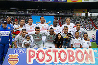 MANIZALES - COLOMBIA -12-04-2014: Los jugadores Once Caldas posan para una foto durante  partido Once Caldas y Atletico Junior por la fecha 17 de la Liga de Postobon I 2014 en el estadio Palogrande en la ciudad de Manizales. / The players of Once Caldas pose for a photo during a match Once Caldas and Atletico Junior for date 17th of the Liga de Postobon I 2014 at the Palogrande stadium in Manizales city. Photo: VizzorImage  / Santiago Osorio / Str.