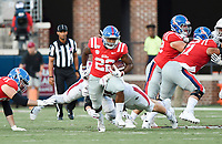 NWA Democrat-Gazette/CHARLIE KAIJO Ole Miss running back Scottie Phillips (22) carries the ball during the first half of a football game, Saturday, September 7, 2019 at Vaught-Hemingway Stadium in Oxford, Miss.