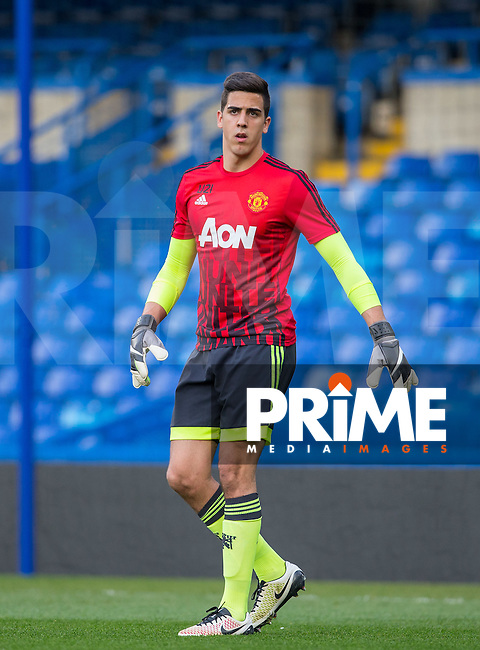 Goalkeeper Joel Pereira of Man Utd U21 during warm up during the Barclays U21 Premier League match between Chelsea and Manchester United at Stamford Bridge, London, England on 6 May 2016. Photo by Andy Rowland.