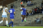 16 October 2015: Duke's Imani Dorsey (3) and North Carolina's Maya Worth (5) challenge for a header. The University of North Carolina Tar Heels hosted the Duke University Blue Devils at Fetzer Field in Chapel Hill, NC in a 2015 NCAA Division I Women's Soccer game. Duke won the game 1-0.
