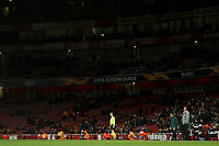 28th November 2019; Emirates Stadium, London, England; UEFA Europa League Football, Arsenal versus Frankfurt; A dejected Arsenal Manager Unai Emery  with a partial empty stadium behind him - Editorial Use