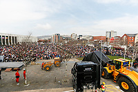 Pictured: The Man Engine at the Waterfront Museum in Swansea, Wales, UK. Thursday 12 April 2018<br /> Re: The largest mechanical puppet in Britain starts its tour across south Wales.<br /> Man Engine, a mechanical miner which measures 36ft (11m) tall, will appear at the Waterfront Museum in Swansea, Wales, animated by a dozen handlers.<br /> The giant is visiting areas linked to the nation's industrial past.<br /> The event starts at Big Pit museum before parading to Blaenavon Ironworks for an opening ceremony.