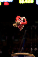 3/1/08 - Photo by John Cheng - Samantha Peszek of the United States performs on vault at the Tyson American Cup in Madison Square GardenPhoto by John Cheng - Tyson American Cup 2008 in Madison Square Garden, New York.Samantha Peszek