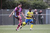 Andrew Mills of Corinthian and Romoluwa Akinola of Haringey during Haringey Borough vs Corinthian Casuals, BetVictor League Premier Division Football at Coles Park Stadium on 10th August 2019