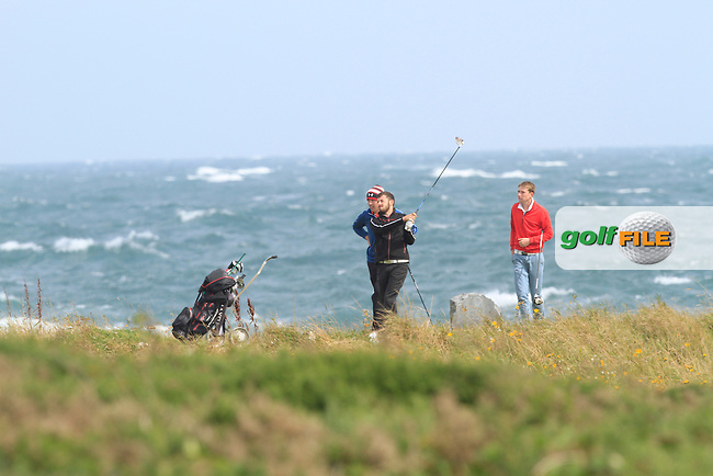 Liam Grehan (Mullingar) on the 8th tee during Round 1 of the Irish Youths Amateur Close Championship in Ardglass Golf Club on Wednesday 27th August 2014.<br /> Picture:  Thos Caffrey / www.golffile.ie