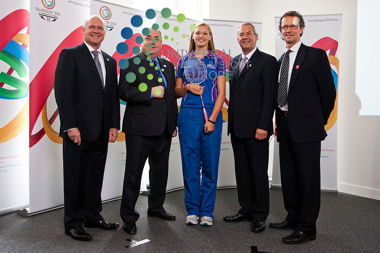 In picture: (L-R) Keith Andrews, Alex Salmond, Caitlin Pringle, Lord Smith, Jeff Foulser. Glasgow 2014 Commonwealth Games host broadcaster was announced today. Sunset+Vine and Global Television are named as having secured the contract. The First Minister, Alex Salmond, and Scottish International badminton player Caitlin Pringle take part in a mock studio event. Commonwealth House, Glasgow. 5th July 2012. Picture: Jonathan Faulds / Universal News And Sport (Europe)