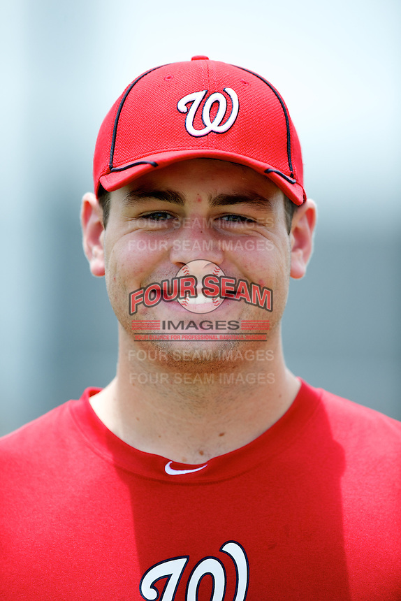 GCL Nationals Lucas Giolito #49 poses for a photo after a Gulf Coast League game against the GCL Marlins at Spacecoast Training Complex on July 23, 2012 in Viera, Florida.  GCL Marlins defeated the GCL Nationals 9-2.  (Mike Janes/Four Seam Images)