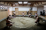 Tokyo, April 26 2013 - Training at Otakebeya sumo stable.