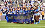 12.05.2018, OLympiastadion, Berlin, GER, 1.FBL, Hertha BSC VS. RB Leipzig, im Bild <br /> Hertha-Spieler bedanken sich bei ihren Fans, Banner<br /> <br /> <br />       <br /> Foto &copy; nordphoto / Engler