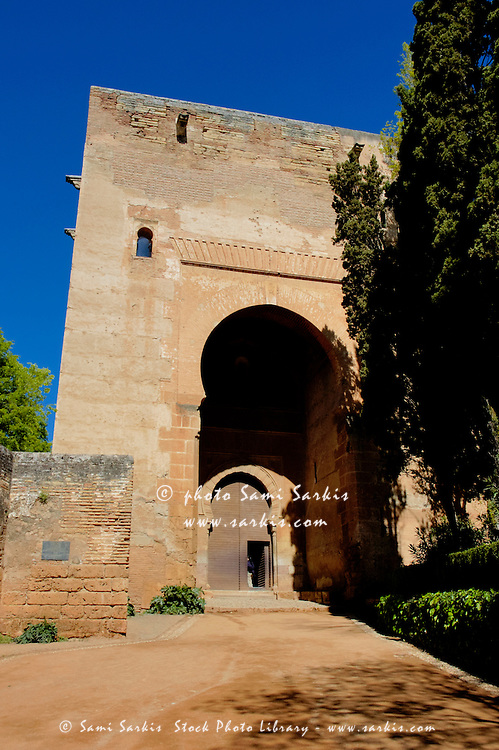 Justice gate, the former main entrance of the Alhambra, a 14th-century palace in Granada, Andalusia, Spain.
