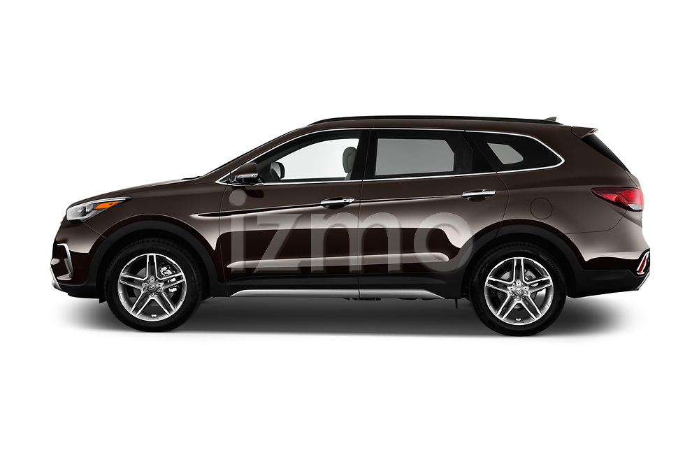 Car Driver side profile view of a 2018 Hyundai Santa-Fe Limited-Ultimate-FWD 5 Door SUV Side View