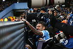 Aleksander Kolarov of Manchester City ends up amongst the photographers after falling over the advertising boards - Manchester City vs Monchengladbach - UEFA Champions League - Etihad Stadium - Manchester - 08/12/2015 Pic Philip Oldham/SportImage