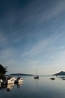 Orion Moored at Harbor, Jones Island State Park, San Juan Islands, Washington, US