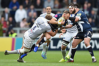 Byron McGuigan of Sale Sharks is tackled by Tom Ellis of Bath Rugby. Aviva Premiership match, between Sale Sharks and Bath Rugby on May 6, 2017 at the AJ Bell Stadium in Manchester, England. Photo by: Patrick Khachfe / Onside Images
