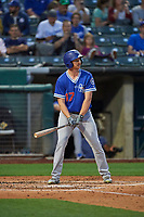 Kyle Garlick (17) of the Oklahoma City Dodgers at bat against the Salt Lake Bees at Smith's Ballpark on July 31, 2019 in Salt Lake City, Utah. The Dodgers defeated the Bees 5-3. (Stephen Smith/Four Seam Images)