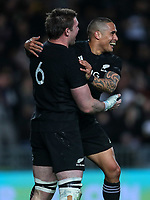 Aaron Smith congratulates Liam Squire on his try during the Bledisloe Cup and Rugby Championship rugby match between the New Zealand All Blacks and Australia Wallabies at Eden Park in Auckland, New Zealand on Saturday, 25 August 2018. Photo: Simon Watts / lintottphoto.co.nz