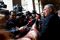 Pietro Grasso speaking with journalists<br /> Rome February 19th 2019. Senate immunity commission at Sant'Ivo alla Sapienza palace.  The commission voted to retain immunity from prosecution for the Minister of Internal Affairs Matteo Salvini. Last August 20th a ship, carrying 177 migrants (among them many minors) docked in the harbour of Catania but Minister Salvini took the decision to block migrants of Diciotti ship at sea. For that reason the magistracy accused the minister of kidnapping.<br /> Foto Samantha Zucchi Insidefoto