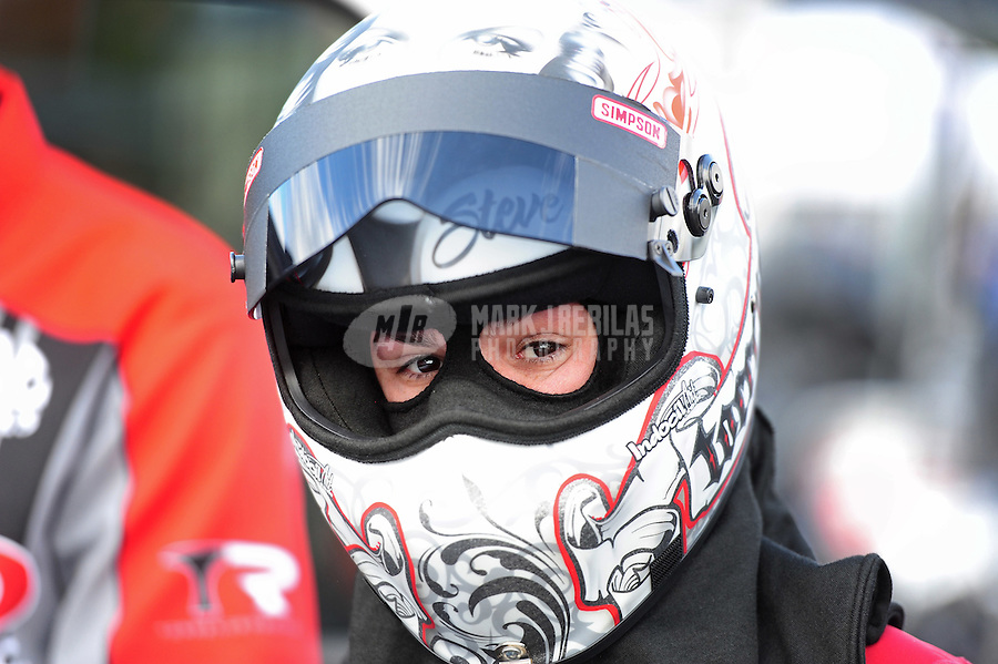 Feb. 12, 2012; Pomona, CA, USA; NHRA top fuel dragster driver Steve Torrence during the Winternationals at Auto Club Raceway at Pomona. Mandatory Credit: Mark J. Rebilas-