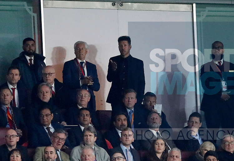 Atletico's Diego Simeone looks on from the directors box after he gets sent off during the Europa League Semi Final 1st Leg, match at the Emirates Stadium, London. Picture date: 26th April 2018. Picture credit should read: David Klein/Sportimage