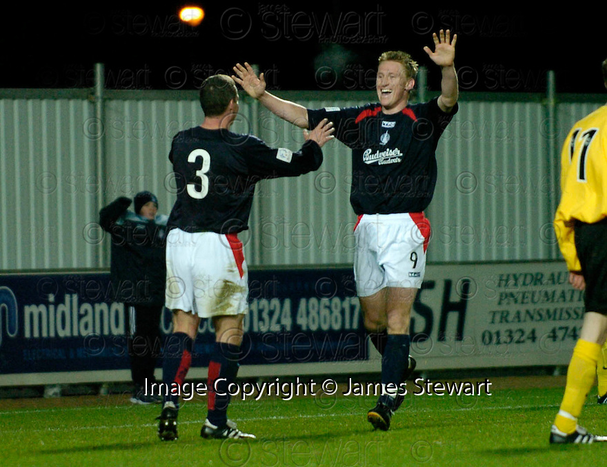18/12/2004  Copyright Pic : James Stewart.File Name : jspa09_falkirk_v_qots.DANIEL MCBREEN CELEBRATES SCORING HIS HAT TRICK AND FALKIRK'S FOURT WITH CRAIG MCPHERSON......Payments to :.James Stewart Photo Agency 19 Carronlea Drive, Falkirk. FK2 8DN      Vat Reg No. 607 6932 25.Office     : +44 (0)1324 570906     .Mobile   : +44 (0)7721 416997.Fax         : +44 (0)1324 570906.E-mail  :  jim@jspa.co.uk.If you require further information then contact Jim Stewart on any of the numbers above.........