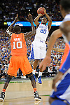 31 MAR 2012: Guard Doron Lamb (20) from the University of Kentucky attempts a jump shot during the Semifinal Game of the 2012 NCAA Men's Division I Basketball Championship Final Four held at the Mercedes-Benz Superdome hosted by Tulane University in New Orleans, LA. Ryan McKeee/ NCAA Photos.