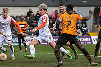 Cameron McGeehan of Luton Town (8) scores his team's first goal against Barnet to make it 1-1 during the Sky Bet League 2 match between Barnet and Luton Town at The Hive, London, England on 28 March 2016. Photo by David Horn.