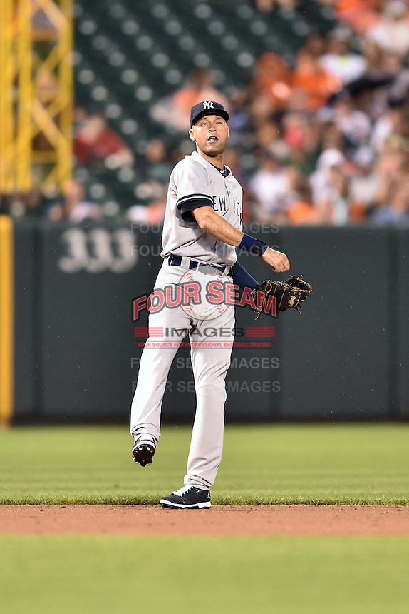 New York Yankees shortstop Derek Jeter #2 during a game against the Baltimore Orioles at Oriole Park at Camden Yards August 11, 2014 in Baltimore, Maryland. The Orioles defeated the Yankees 11-3. (Tony Farlow/Four Seam Images)