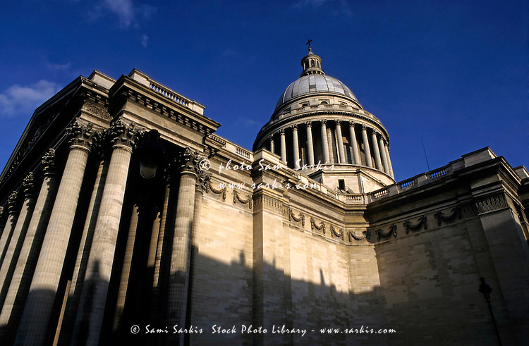 Architectural features of the Pantheon at sunset, Paris, France.