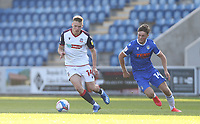 Bolton Wanderers' Tom White and Colchester United's Noah Chilvers<br /> <br /> Photographer Rob Newell/CameraSport<br /> <br /> The EFL Sky Bet League Two - Colchester United v Bolton Wanderers - Saturday 19th September 2020 - Colchester Community Stadium - Colchester<br /> <br /> World Copyright © 2020 CameraSport. All rights reserved. 43 Linden Ave. Countesthorpe. Leicester. England. LE8 5PG - Tel: +44 (0) 116 277 4147 - admin@camerasport.com - www.camerasport.com