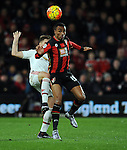 Junior Stanislas of Bournemouth is challenged by Guillermo Varela of Manchester United<br /> - Barclays Premier League - Bournemouth vs Manchester United - Vitality Stadium - Bournemouth - England - 12th December 2015 - Pic Robin Parker/Sportimage