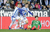 CD Leganes' Ruben Perez (L), Guido Carrillo and Deportivo Alaves' Ibai Gomez during La Liga match. November 23,2018. (ALTERPHOTOS/Alconada) /NortePhoto.com