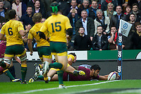 Manu Tuilagi of England scores a try in the corner during the Cook Cup between England and Australia, part of the QBE International series, at Twickenham on Saturday 17th November 2012 (Photo by Rob Munro)