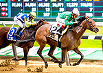 ELMONT, NY -MAY 12: Kirby's Penny,#2, ridden by jockey John Valazquez, wins the Vagrancy Handicap  at Belmont Park on May 12, 2018 in Elmont, New York. (Photo by Dan Heary/Eclipse Sportswire/Getty Images)