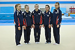 Media Day at Lilleshall NSC British Gymnastics. Squad members pictured ahead of the European Championships for Women in Belgium May 9th-13th 2012. Junior Womens Team. Gabrielle Jupp Charlie Fellows Angel RomaeoRaer Theaker Georgina Hockenhull