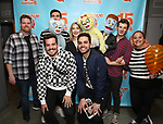 """Nick Kohn,  Jamie Glickman and Matt Dengler with Avenue Q & Puppetry Fans during """"Avenue Q"""" Celebrates World Puppetry Day at The New World Stages on 3/21/2019 in New York City."""