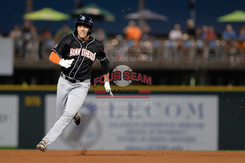 Jupiter Hammerheads outfielder Austin Dean (3) running the bases during a game against the Bradenton Marauders on April 18, 2015 at McKechnie Field in Bradenton, Florida.  Bradenton defeated Jupiter 4-1.  (Mike Janes/Four Seam Images)