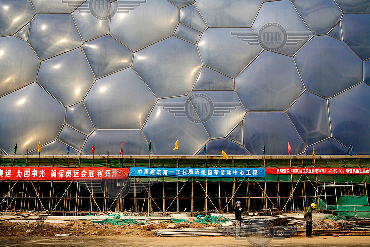 The National Aquatics Center aka. The Water Cube, under construction before the 2008 Olympic Games...