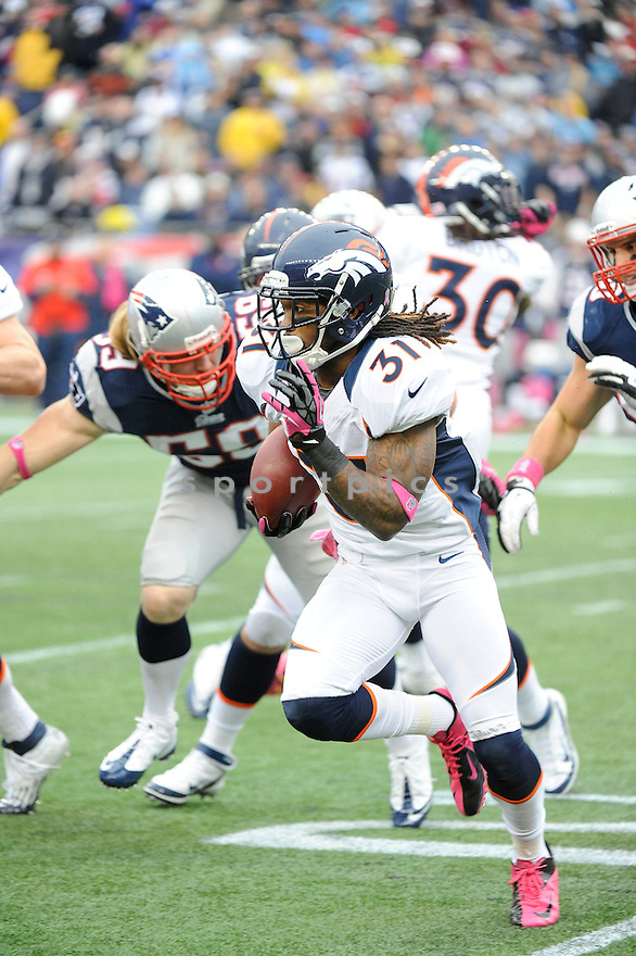 Denver Broncos Omar Bolden (31) in action during a game against the New England Patriots on October 7, 2012 at Gilette Stadium in Foxboro, MA. The Patriots beat the Broncos 31-21.