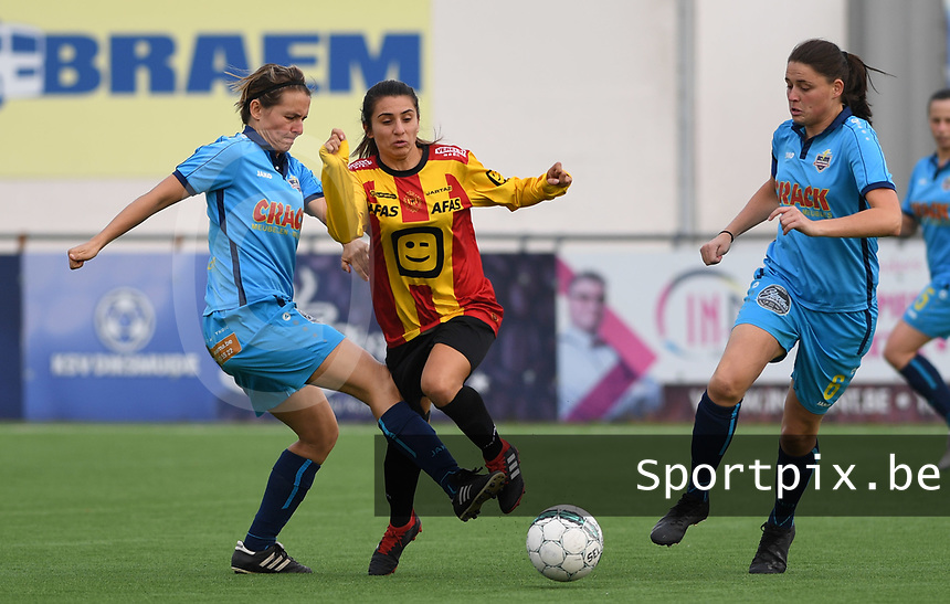 20191005  -  Diksmuide , BELGIUM :  Famkes pictured during a footballgame between the womensoccer teams from Famkes Westhoek Diksmuide Merkem and KV Mechelen Ladies A , on the 5th matchday in the first division , 1e nationale , in Diksmuide - Belgium - saturday 5th october 2019 . PHOTO DAVID CATRY | Sportpix.be