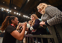 05.02.2017 Silver Ferns Maria Tutaia signs autographs for fans during the Silver Ferns v Proteas netball test match played at Wembley Arena  in London, England. Mandatory Photo Credit ©Joe Toth/Michael Bradley Photography