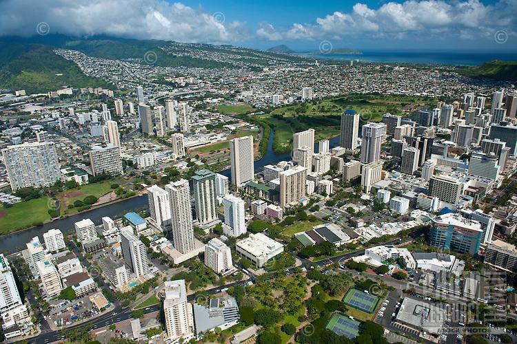 Aerial view from Waikiki overlooking the Ala Wai canal to Koko Head