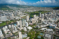 Aerial view from Waikiki overlooking the Ala Wai canal to Koko Head