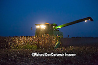 63801-07003 Farmer harvesting corn at night, Marion Co., IL