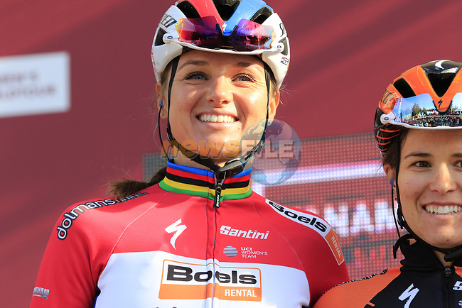 Chantal Blaak (NED) Boels Dolmans at sign on before the Strade Bianche Women Elite 2019 running 133km from Siena to Siena, held over the white gravel roads of Tuscany, Italy. 9th March 2019.<br /> Picture: Eoin Clarke | Cyclefile<br /> <br /> <br /> All photos usage must carry mandatory copyright credit (© Cyclefile | Eoin Clarke)