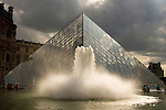 Exterior View of The Louvre with Water Fountain and Glass Pyramid Entrance