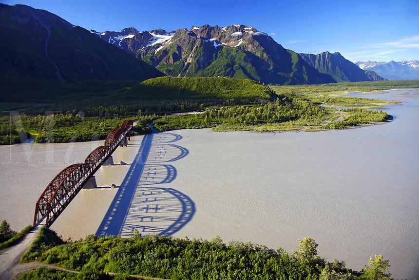Aerial Million Dollar Bridge crossing the Copper River, Chugach National Forest near Cordova, Alaska.